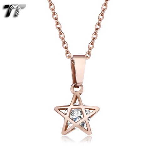 TT 9K Rose Gold Stainless Steel Clear CZ STAR Necklace (NP372) 2018 NEW