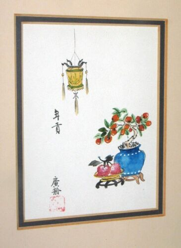 ANTIQUE CHINESE LANTERN STILL LIFE WATERCOLOR PAINTING JAPANESE STYLE