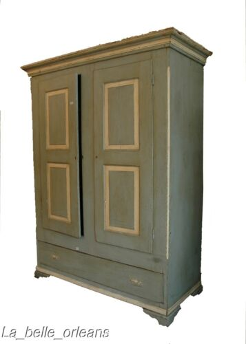 CHARMING PAINTED AMERICAN PRIMITIVE TWO DOOR ARMOIRE.