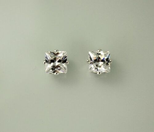 Mens Clear CZ 8mm Square Czech Crystal Stone Hip Hop Bling Magnetic Earrings