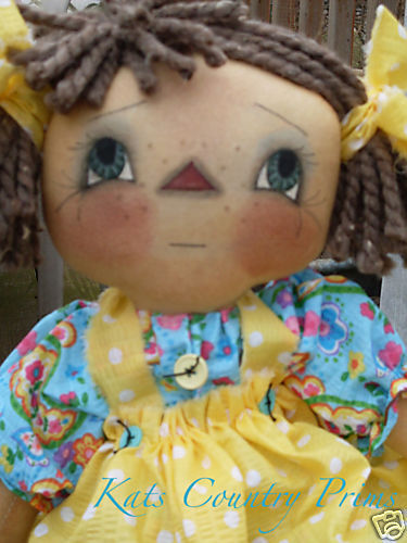 "Primitive Raggedy Annie Ann style Doll~21"" Freckles~Mailed PATTERN #115"