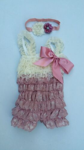 Baby Girl Lace Posh Petti Ruffle Rompers bow band S M L XL