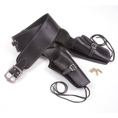 BLACK LEATHER WESTERN DOUBLE RIG HOLSTER WITH BULLETSReproductions - 156384