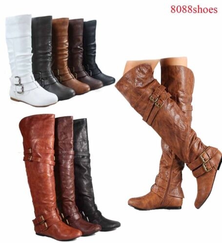 Women's Comfy Flat Casual  Mid Calf Thigh High Round Toe Slouch Boots SZ 5 to 11