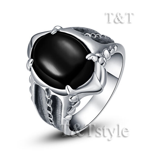 High Quality T&T 316L Stainless Steel Ring With Black Onyx Size 9 (RZ03)