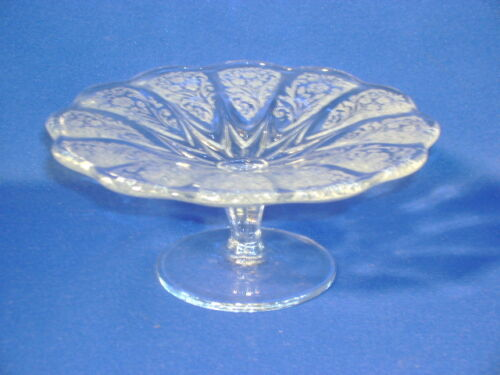 NEW MARTINSVILLE CRYSAL CANTERBURY CLEAR CHEESE COMPOTE 5 3/4""