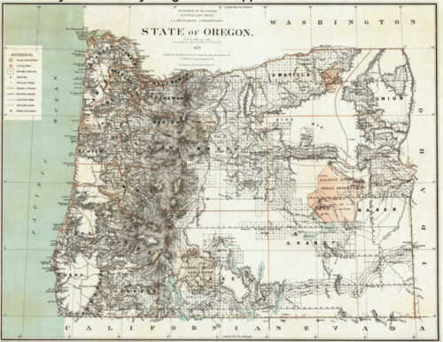 1879 Oregon Map Or Portland Astoria Cornelius Oak Hills COLUMBIA DOUGLAS COUNTY