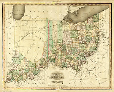 OHIO 1819 OH MAP Poland Reminderville Sheffield Sebring