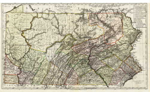 HUGE 1797 PA MAP Ohio Allegheny Delaware Susquehanna River Old History  SURNAMES