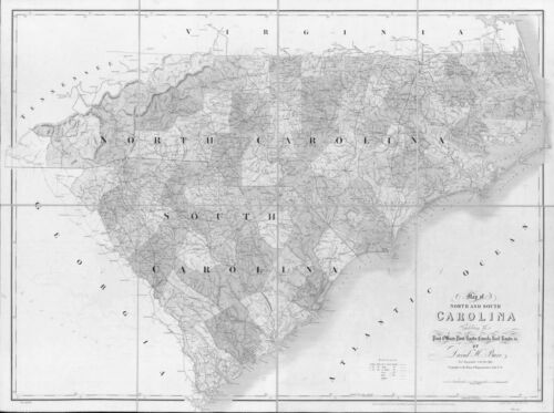 1839 NC MAP WATAUGA WAYNE WILKES COUNTY Old North Carolina History     VERY HUGE