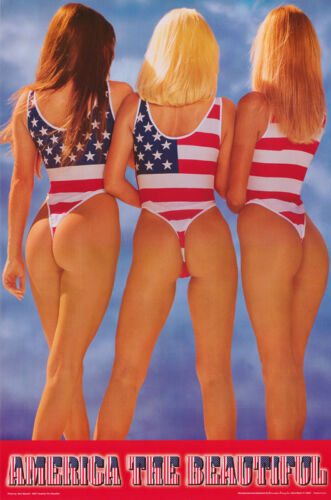 POSTER : AMERICA THE BEAUTIFUL - SEXY FEMALE MODELS -FREE SHIPPING #2817 LP46 W