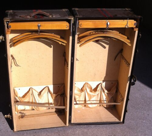 V. RARE FINNIGANS of 20 NEW BOND STREET LONDON WOODEN CLOSET/TRUNK CIRCA 1900