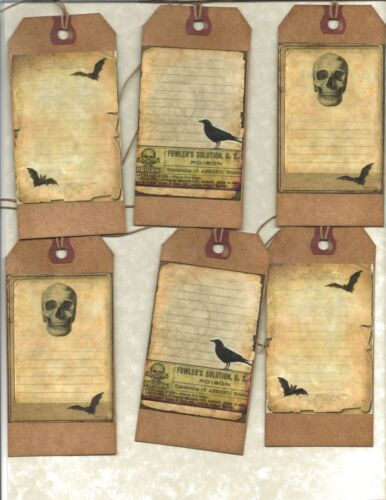 12 PRIMITIVE TAGS~ Witches Journal Tags !~HANG TAGS~folk~Grungy