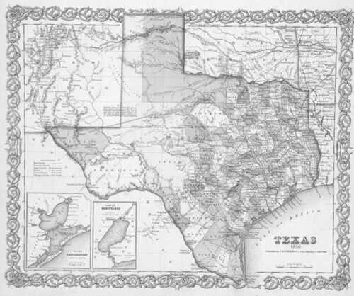 1856 TEXAS MAP TX LEE LEON LIBERTY LIMESTONE LIPSCOMB LIVE OAK LLANO COUNTY huge