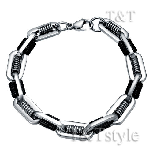 T&T 10mm Two-Tone Stainless Steel Chain Bracelet (CB124)