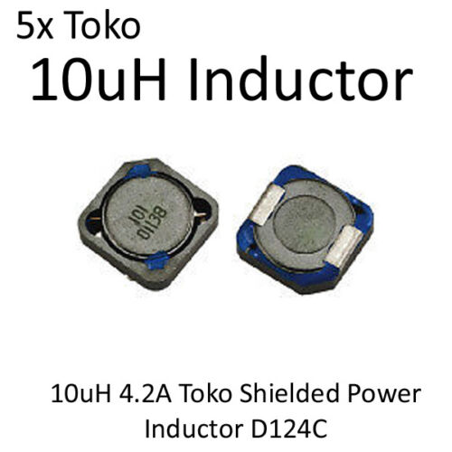 5pcs 10uH 4.2A Toko Shielded Power Inductor D124C Surface Mount New