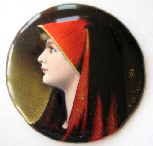 ANTIQUE FRENCH LIMOGES ENAMEL PLAQUE PAINTING LADY PROFILE SIGNED HANNER