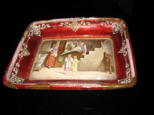 ANTIQUE FRENCH HAND PAINTED SIGNED LIMOGES ENAMEL CARD TRAY