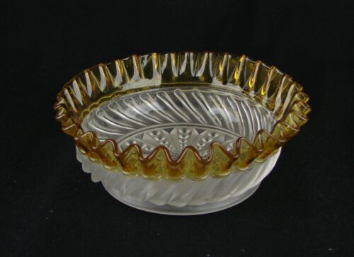 Hobbs or Aetna Glass Gonterman Swirl ~ Bowl ~ Satin Finish ~ Excellent Cond