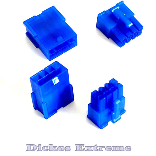 8 PIN ATX Motherboard Power Supply Connector Set 1 x Male & 1 x Female UV Blue