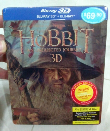 Brand New The Hobbit : An Unexpected Journey (Steel Tin, 3D Blu-Ray + BluRay)