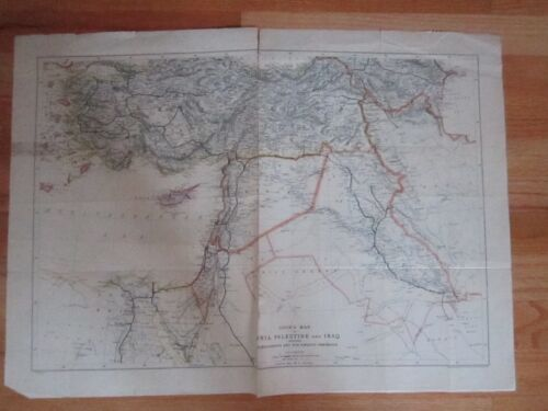 """1929 COOK'S MAP OF SYRIA, PALESTINE AND IRAQ - 24"""" X 18"""" -"""