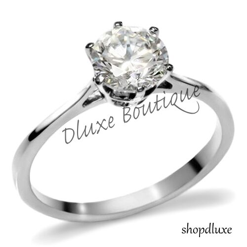 1.30 Ct Round Cut Solitaire Stainless Steel CZ Engagement Ring Women's Size 5-10