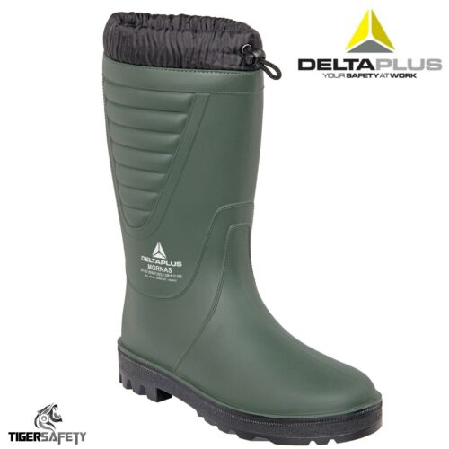 Delta Plus Mornas Green Fur Lined Cold Work Thermal Wellington Boots Wellies