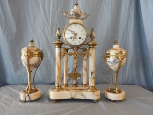 Louis XVI French Marble and Ormulo 5 Column Portico Clock Set with Teardrop Urns