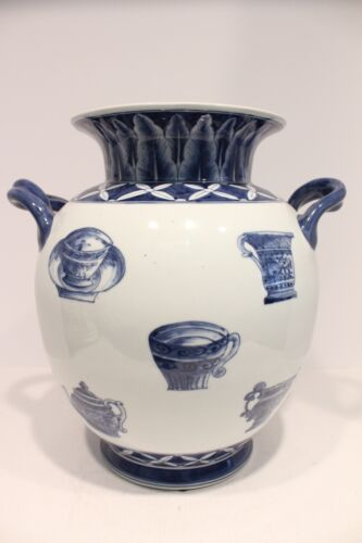 Unique Blue and White Porcelain Vase with Teapot and Tea Cup Design 13.5""