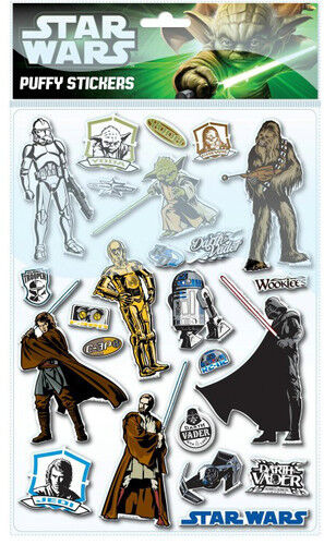 RETRO STAR WARS PUFFY 3-D STICKERS SET BRAND NEW PARTY BAGS DARTH VADER YODA