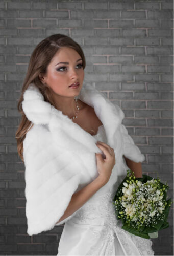 Women Wedding Ivory | White | Black Bridal Faux Fur Cape Bolero Jacket B-24