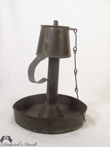 Rare Antique Tin Lamp on Stand