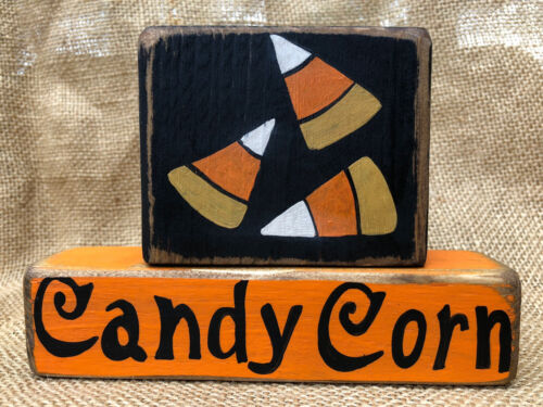 Primitive Country Candy Corn Fall Halloween Stackable Home Decor Wood Block Set