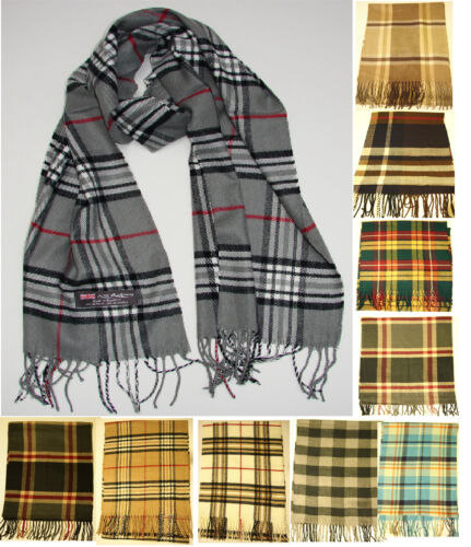 100% Cashmere Scarf  Check Plaid Scarf  Soft Warm made in Scotland 12 colors