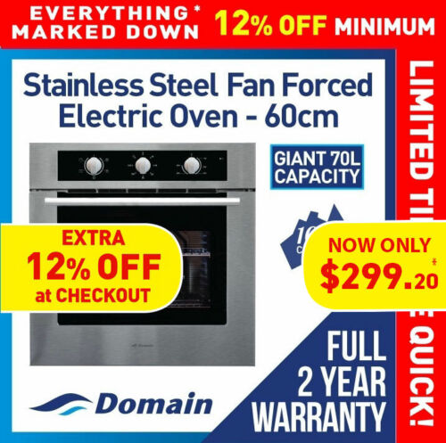 NEW 60cm STAINLESS STEEL FAN FORCED ELECTRIC WALL OVEN <br/> Bonus 12% Off - Auto applied at checkout - Limited Time