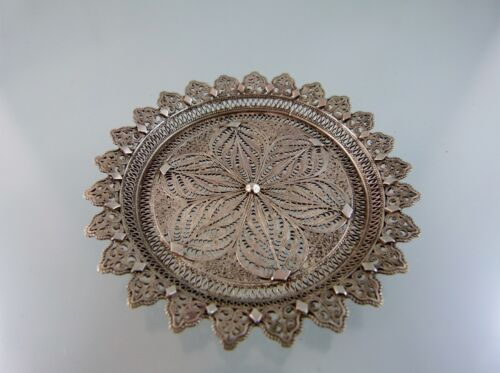 FILIGREE CUP OR GLASS COASTER IN SILVER ALLOY BY unknown EUROPEAN MAKER