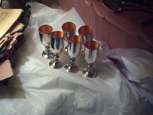 5 small Blackinton silverplate on brass goblets 3 3/4 inches tall gold inside