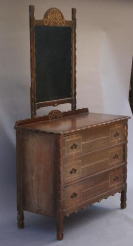 1930s Dresser w Mirror & Drawers Spanish Revival Rancho Monterey Antique (3748)
