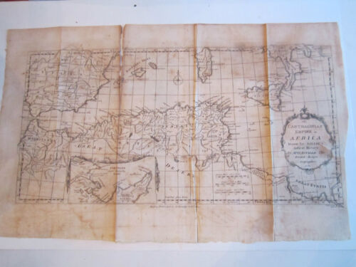 """VINTAGE 1738 CARTHAGINIAN EMPIRE IN AFRICA MAP BY D'ANVILLE - 18"""" x 11""""  TUB RRR"""
