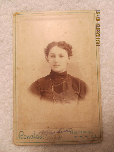 Vintage Cabinet Card Photo Young Woman Identified as Frankie Baker Harrisburg IL
