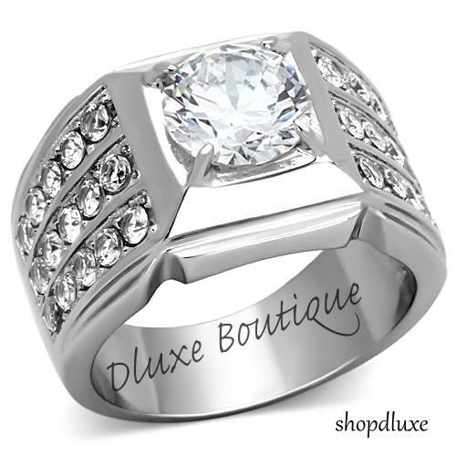 MEN'S ROUND CUT SIMULATED DIAMOND SILVER STAINLESS STEEL FASHION RING SIZE 7-15