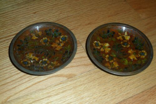 Antique 19th C miniature CLOISONNE oriental Brown Chinese Pair Dish/Plate/Bowl