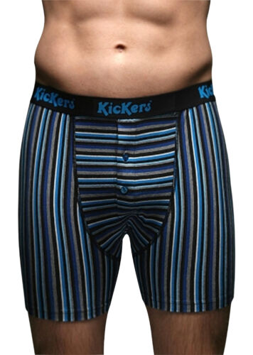 2 Pairs Mens Kickers BLUE Striped button Boxer Shorts