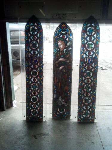 3 Pc. Amazing St, Joseph arch window painted and fired