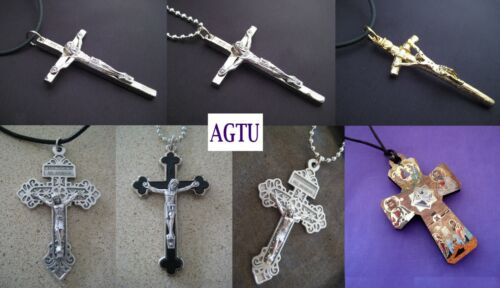 U PICK CRUCIFIX and NECKLACE Silver Gold Cross Jesus Pendant with Necklace AGTU