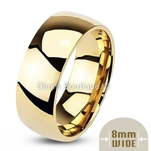 Men's 8mm Wide 14k Gold Plated Classic Comfort Fit Wedding Ring Band