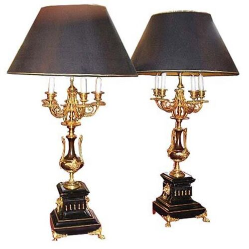 Pair of Bronze Lamps with Marble Base #6647