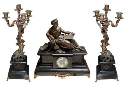 Spectacular 3-Piece Marble & Bronze Figural Mantel Clock Set #6431