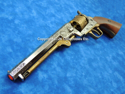 Replica Gun 1851 Civil War Colt Navy Revolver Gold & Silver With Wood GripsReproductions - 156384